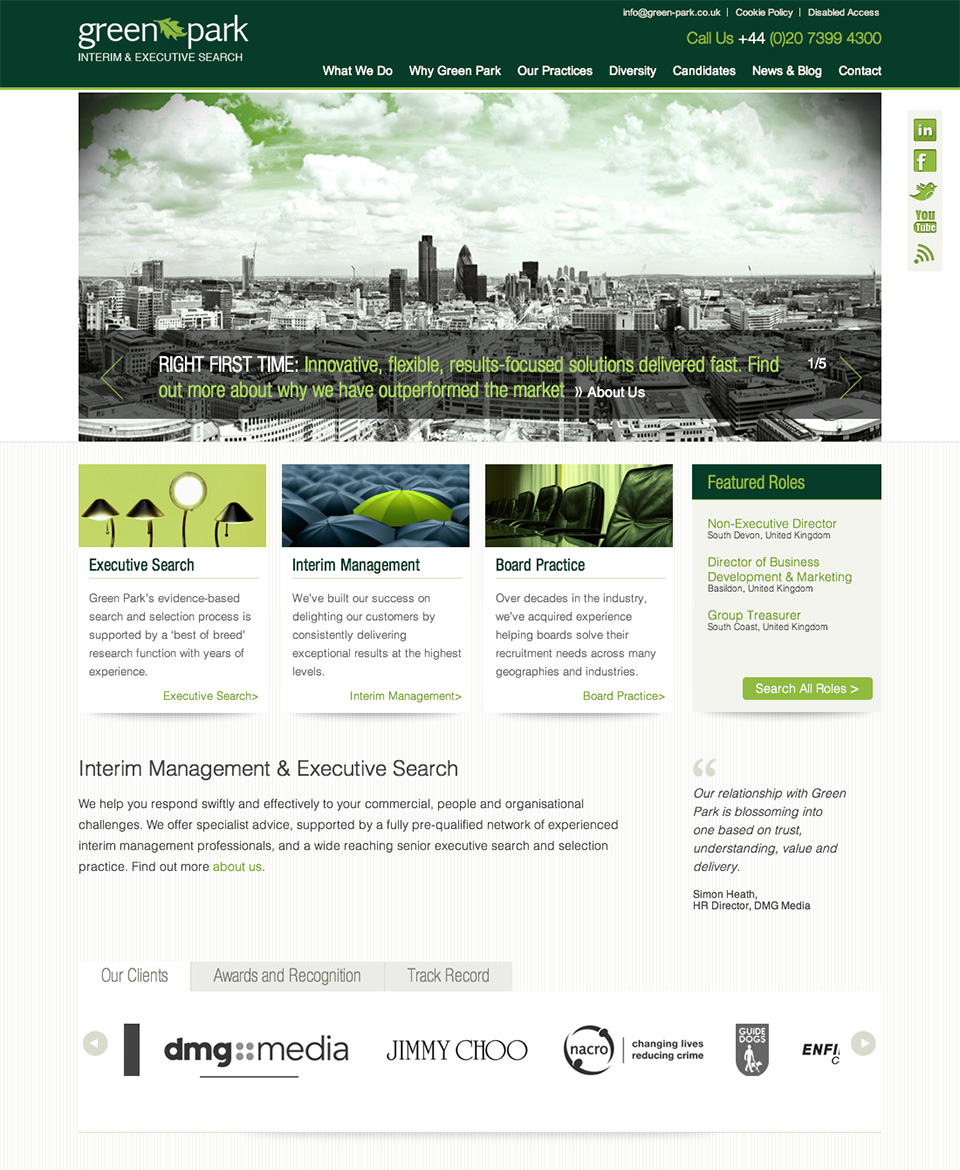 New Green Park website