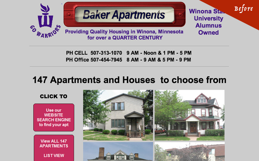 Baker Apartments Old Homepage