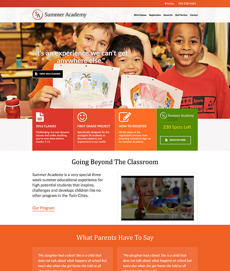 education website redesign
